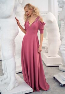 Style #641b, crepe A-line evening gown with cold shoulders; available with or without sleeves; in dark blue, red, turquoise, pink, ivory, lilac, black, lilac-brown