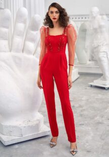 Style #643-8, three quarter sleeve jumpsuit with leaf embroidery and pockets; available in red, pink, black