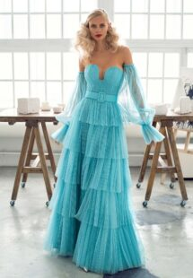 Style #646b, strapless A-line evening dress with tulle layered skirt and detachable sleeves; available in midi or maxi length; in turquoise, cream, coral