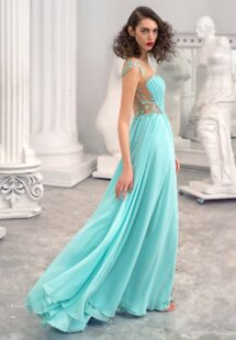 Style #648, chiffon sheath dress with an illusion plunging neckline and leaf embroidery; available in mint, ivory, white, powder pink, purple, black, yellow, green, sea green, dusty-turquoise, grey-blue, sky-blue, azure, pink, cherry, scarlet, peach, smoky
