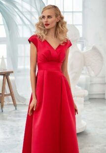Style #650, satin A-line evening dress with keyhole back and pockets; available in steel-dark blue, raspberry, black, ivory, eggplant, violet