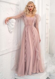 Style #651, long-sleeve A-line evening dress with ruffles and floral embroidery; available in powder, cherry, ivory, pink, purple, azure, grey-blue