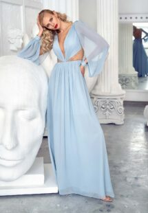 Style #652, long-sleeve chiffon evening gown with plunging neckline, illusion side cutouts and open back; available in berry, white, ivory, yellow, peach, powder, purple, scarlet, pink, cherry, mint, sky-blue, grey-blue, azure, green, cornflower, smoky, black