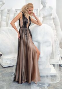 Style #654, A-line evening gown with a plunging neckline, open back and slit down the skirt; available in gold, black