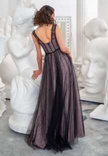 Style #655b, bustier style evening dress with thick floral straps and outlined velvet boning; available in black-powder, cream, black -nude, ivory-powder