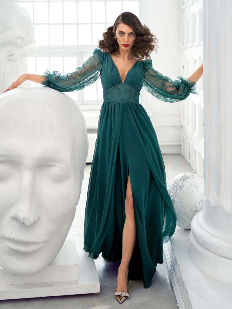 Style #657, chiffon sheath gown with balloon style lace sleeves and slit down the skirt; available with an open or closed back; in green, ivory, cherry, powder, purple, blue, black