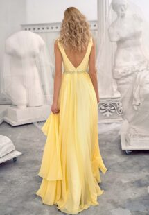 Style #658, chiffon evening dress with a plunging neckline, open back and beaded waistline; available in yellow, ivory, peach, grey-blue, black, smoky, green, dusty-turquoise, azure, cherry, mint, purple, powder