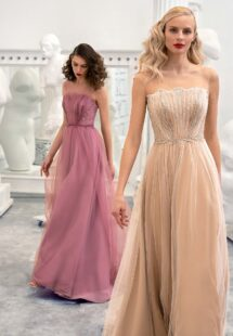 Style #659, A-line formal dress with illusion straight neckline, beaded top and V-back; available in pink, ivory, nude