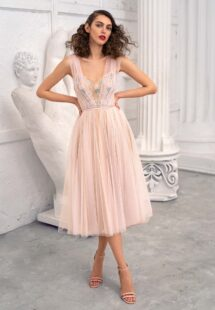Style #660-1, tulle A-line evening dress with floral embroidered top and flowy skirt; available in midi or maxi length; in ivory-nude, pink-nude