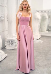 Style #661, thick strap sheath gown with bustier style corset and detachable flower brooch; available in pink, ivory, black, powder, raspberry