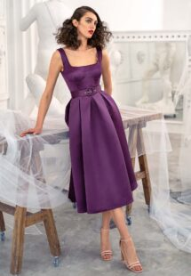 Style #662a, satin A-line cocktail dress with square neckline and pockets; available in midi or maxi length; in eggplant, ivory, raspberry, black, steel -dark blue, violet