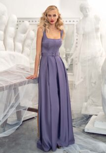 Style #662b, satin A-line cocktail dress with square neckline and pockets; available in midi or maxi length; in eggplant, ivory, raspberry, black, steel -dark blue, violet