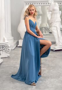 Style #664, chiffon sheath gown with flower embroidered straps and illusion V-back; available in azure, yellow, ivory, peach, grey-blue, black, green, dusty-turquoise, cherry, mint, purple, powder, smoky, sky-blue, berry, cornflower, scarlet, pink