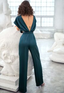 Style #667-8, satin jumpsuit with butterfly sleeves and embroidered top; available in green, burgundy, red, dark blue, ivory, black