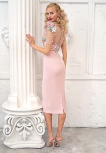 Style #670, fitted cocktail dress with puffed short sleeves and floral embroidered top; available in lilac, pink