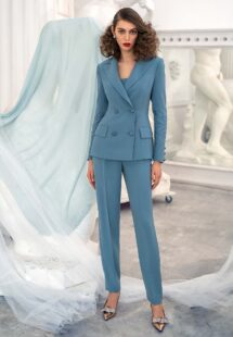 Style #671, three-piece pantsuit with top and jacket; available in turquoise, lilac-brown, dark blue, black, pink, red
