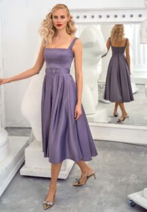 Style #672b, satin A-line cocktail dress with thick straps and square neckline; available in midi or maxi length; in violet, steel-dark blue, black, raspberry, ivory, eggplant