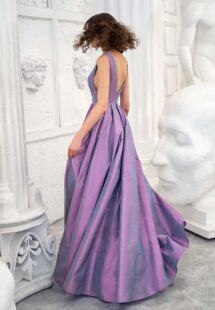 Style #673b, taffeta A-line gown with deep V-neckline and open back; available in midi or maxi length; in gold-grey, gold-orange, orange, purple, fenny, coral, pistachio-coloured, ivory